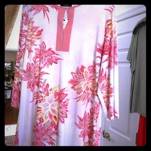 Coral and White tunic top by Tahari